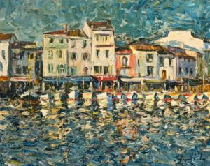 """Port de Cassis, Provence,"" by Raynald Leclerc 24 x 30 - oil $3000 Unframed"