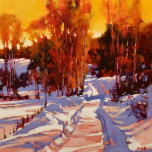 """SOLD """"Princeton Winter,"""" by Mike Svob 16 x 16 – acrylic $1930 (thick canvas wrap without frame)"""