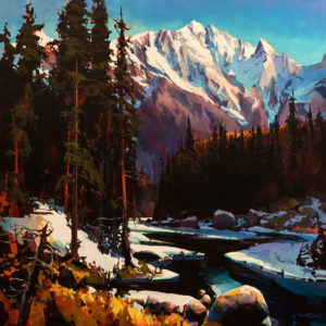 "SOLD ""Pthalo Blue Day, Kananaskis,"" by Michael O'Toole 36 x 36 – acrylic $4925 Unframed"