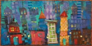 """Itty Bitty City Series: Purple Haze,"" by Angie Rees 6 x 12 - acrylic $450 (unframed panel with 1 1/2"" edges)"