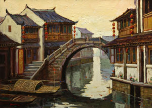 """Quiet Canal at Dawn, Suzhou,"" by Dongmin Lai 11 x 15 - oil $1600 Framed"