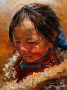 "SOLD ""Quiet Reflection,"" by Donna Zhang 12 x 16 – oil $1620 Unframed $1975 Custom framed"