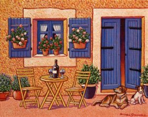 "SOLD ""A Quiet Street in Provence,"" by Michael Stockdale 8 x 10 – acrylic $400 Unframed"