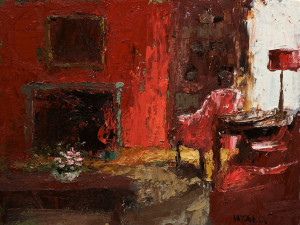 "SOLD ""Reading Room,"" by Paul Healey 12 x 16 – oil $650 Unframed"