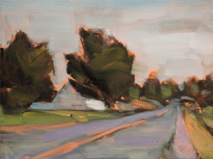 "SOLD ""Retour,"" by Robert P. Roy 9 x 12 – oil $425 Unframed $625 Custom framed"