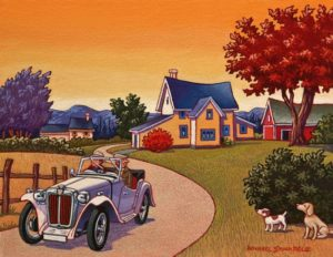 """SOLD """"A Ride in the Country,"""" by Michael Stockdale 8 x 10 – acrylic $400 Unframed"""
