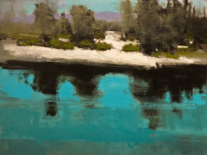 """Riviere sous la glace,"" by Robert P. Roy 30 x 40 - acrylic $2650 (thick canvas wrap without frame)"