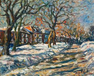 "SOLD ""La rue enneigée, Avenue George VI, Québec,"" by Raynald Leclerc 20 x 24 – oil $2500 Unframed"