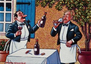 """SOLD """"Sampling a New Vintage,"""" by Michael Stockdale 6 x 8 – acrylic $300 Unframed"""