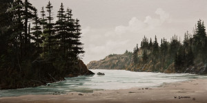 "SOLD ""Sandy Bay,"" by Bill Saunders 8 x 16 – acrylic $800 Unframed $1025 Custom framed"