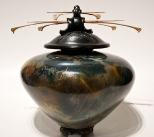 """SOLD Vase (150) by Geoff Searle pit-fired pottery – 12"""" (H) $850"""