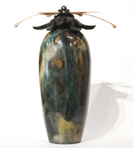 """SOLD Vase (196) by Geoff Searle pit-fired pottery – 14"""" (H) $750"""