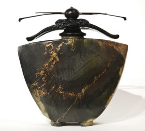 """SOLD Vase (199) by Geoff Searle pit-fired pottery – 10"""" (H) $575"""