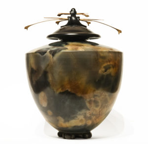 "Vase (209) by Geoff Searle pit-fired pottery - 14 1/2"" (H) x 11"" (W) $950"
