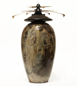 """SOLD Vase (210) by Geoff Searle pit-fired pottery – 15 1/2"""" (H) $895"""