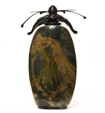 "Vase (212) by Geoff Searle pit-fired pottery - 14"" (H) $750"