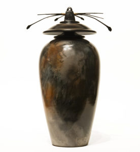 "SOLD Vase (213) by Geoff Searle pit-fired pottery - 13"" (H) $650"