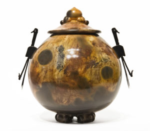 "Urn (215) by Geoff Searle pit-fired pottery - 10"" (H) $595"