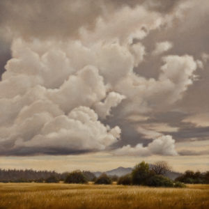 "SOLD ""September Cloudscape,"" by Ray Ward 10 x 10 – oil $975 Unframed"