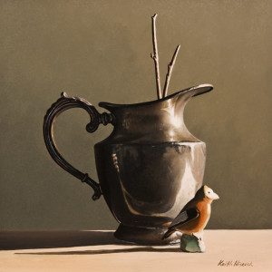 "SOLD ""Silver Pitcher,"" by Keith Hiscock 10 x 10 – oil $875 Unframed"