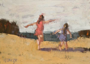 "SOLD ""Sisters"" by Paul Healey 5 x 7 - oil $250 Unframed $425 in show frame"
