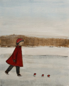 "SOLD ""Skating Together,"" by Louise Lauzon 8 x 10 – acrylic $340 Unframed $490 Custom framed"