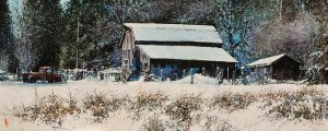 "SOLD ""Snowbound,"" by Alan Wylie 12 x 30 – acrylic $4120 Unframed $4400 in artiist's frame"