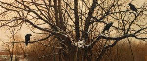 "SOLD ""Snow Crows,"" by Alan Wylie 15 x 36 – acrylic $6050 Unframed"