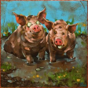 """Spa Day,"" by Angie Rees 10 x 10 - acrylic $675 (panel with 1 1/2"" edging)"