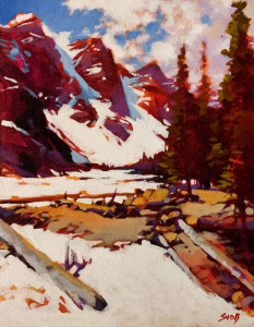 """SOLD """"Spring at Moraine Lake"""" 11 x 14 – acrylic $1135 Unframed"""