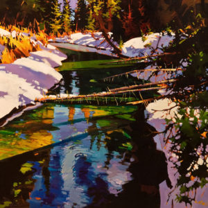 "SOLD ""Spring Thaw – Creek Near Banff,"" by Michael O'Toole 30 x 30 – acrylic $3640 Unframed"