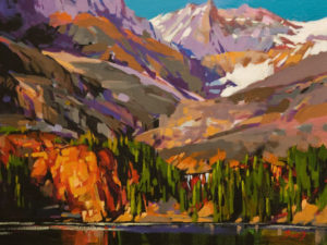 """SOLD """"Summer Afternoon, Lake O'Hara,"""" by Mike Svob 12 x 16 – acrylic $1345 Unframed"""