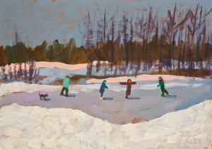 "SOLD ""Sunday Skate"" by Paul Healey 5 x 7 - acrylic $250 Unframed $425 in show frame"