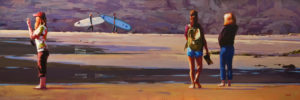 """""""Surf Watchers,"""" by Mike Svob 24 x 72 - acrylic $9865 (thick canvas wrap without frame)"""