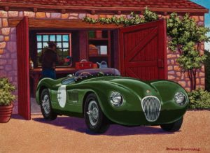 "SOLD ""Taking the Old Jag for a Spin,"" by Michael Stockdale 9 x 12 – acrylic $475 Unframed"