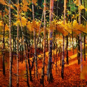 "SOLD ""Tangled Autumn,"" by Michael O'Toole 30 x 30 – acrylic $3640 Unframed"