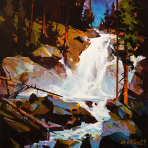 "SOLD ""Tangled Falls Ascending,"" by Michael O'Toole 12 x 12 – acrylic $910 Unframed"