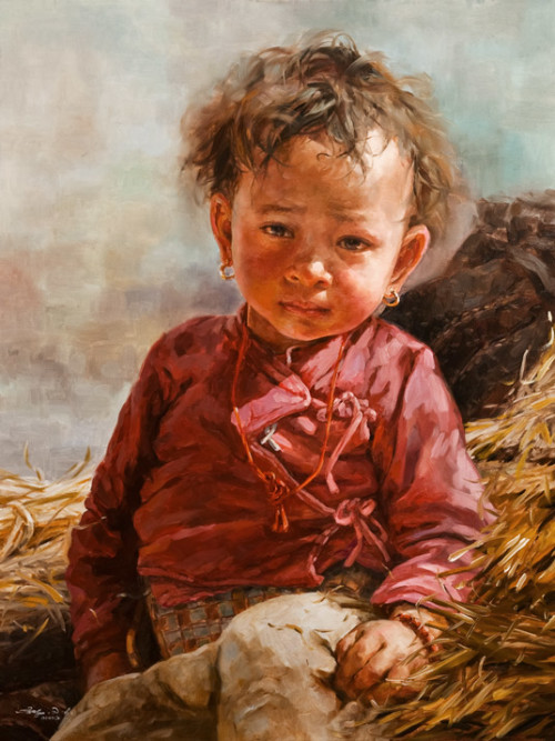 """Thimi Boy,"" by Donna Zhang 30 x 40 - oil $7270 Framed $6700 Unframed"