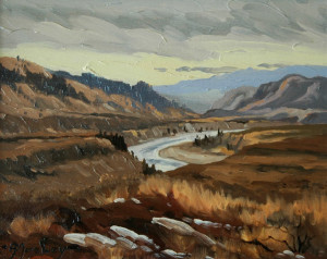 """Thompson River (between Kamloops and Cache Creek)"" by Arnold Mosley 8 x 10 - oil on panel"