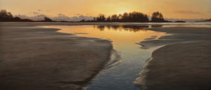 "SOLD ""Tidal Pool at Nightfall,"" by Ray Ward 18 x 42 – oil $3450 Unframed"