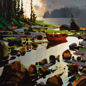 """SOLD """"Tidal Pool, Rivers Inlet,"""" by Michael O'Toole 12 x 12 – acrylic $910 Unframed"""