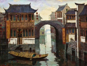 """Tranquil Waters, Suzhou,"" by Dongmin Lai 15 x 20 - oil $2500 Framed"