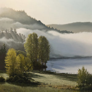 "SOLD ""Valley Mist,"" by Keith Hiscock 24 x 24 – oil $4250 Unframed"
