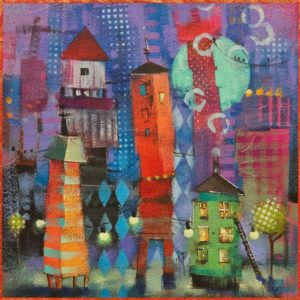 """Itty Bitty City Series: Velvet Fog,"" by Angie Rees 8 x 8 - acrylic $425 (unframed panel with 1 1/2"" edging)"