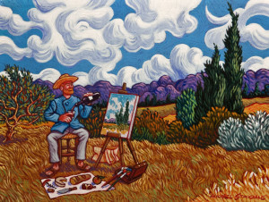 """SOLD """"Vincent's Lunch Break,"""" by Michael Stockdale 9 x 12 – acrylic $475 Unframed"""