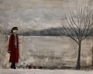 "SOLD ""Walking"" by Louise Lauzon 8 x 10 - acrylic $340 Unframed $460 in show frame"