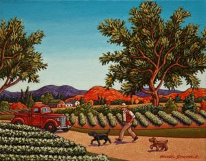 "SOLD ""A Walk in the Vineyards,"" by Michael Stockdale 8 x 10 – acrylic $400 Unframed $500 Custom framed"