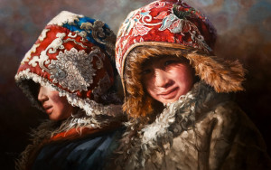 "SOLD ""Warm and Cozy,"" by Donna Zhang 30 x 48 – oil $7950 Unframed"