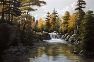 "SOLD ""Waterfall,"" by Bill Saunders 24 x 36 - acrylic $4400 Unframed"