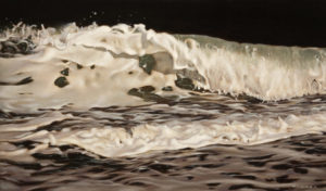 "SOLD ""Wave No. 1,"" by Ray Ward 10 x 17 – oil $1250 Unframed"